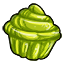 A apple flavored cupcake shaped gummy.