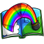 Every page has a colorful image bursting from the page!