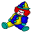 A clown squishie with red hair.
