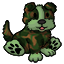Authentic-looking stuffed camo farm dog. Complete with barking sounds.
