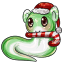 This little creature just adores candy canes!
