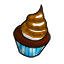 A delicious chocolate cupcake with toasted marshmallow for frosting.