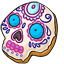 Blues and purples were used to decorate this sugar skull cookie.