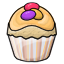 A vanilla cupcake with orange frosting and candy eggs on top..