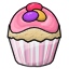 A vanilla cupcake with pink frosting and candy eggs on top..