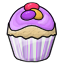 A vanilla cupcake with purple frosting and candy eggs on top..