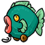 Due to the two wheel design, this fish bobs up and down when you pull it along!