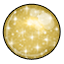This gumball sparkles with powdered sugar sprinkled on a gold colored shell. It tastes like caramel cream. Yummy!