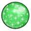 This gumball sparkles with powdered sugar sprinkled on a green colored shell. Yummy!