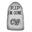 A commemorative stuffed gravestone to IM Gone
