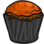 This chocolate cupcake is frosted with a sugary orange topping.  The black and orange design is wonderfully festive for this Halloween season.