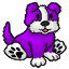 Authentic-looking stuffed purple farm dog. Complete with barking sounds.