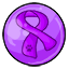 A gumball with the purple ribbon to bring awareness to Animal Abuse.