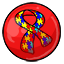 A gumball with the puzzle ribbon to bring awareness to Autism.
