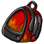 A backpack with a fire design on it.