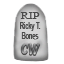 A commemorative stuffed gravestone to Ricky T. Bones