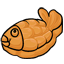 This fish is filled with a sticky paste made out of red beans.  It is made out of a dough that is something like pancake batter...  :3