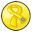 A gumball with the yellow ribbon to bring awareness to our Troops.